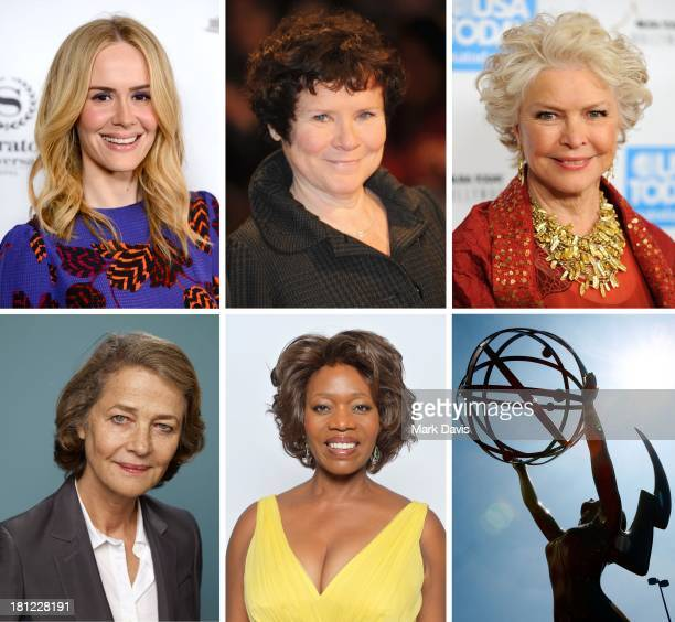 In this composite image a comparison has been made between the 2013 Emmy Nominees For Supporting Actress In A Miniseries Or A Movie A general view of...