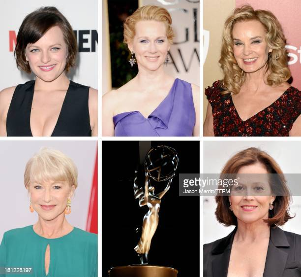 In this composite image a comparison has been made between the 2013 Emmy Nominees For Lead Actress In A Miniseries Or A Movie. Actress Sigourney...