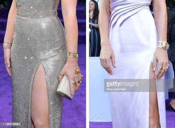 In this composite image a comparison has been made between the jewelry of 'infinite stones' worn by Scarlett Johansson and Brie Larson at the world...