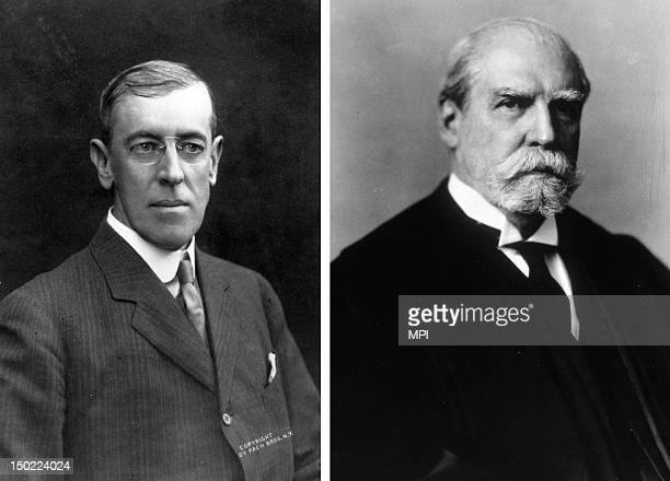 In this composite image a comparison has been made between Woodrow Wilson and Charles Evans Hughes In 1916 Democrate Woodrow Wilson won the...