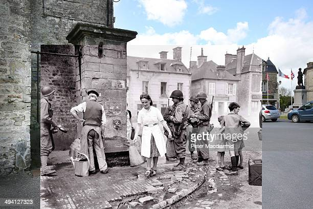 In this composite image a comparison has been made of Saint Marie du Mont France DDay took place on June 6 1944 Image A group of American soldiers...