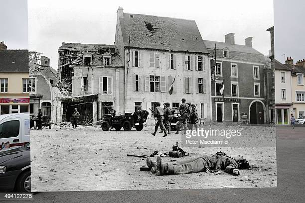 In this composite image a comparison has been made of Trevieres France DDay took place on June 6 1944 Image The body of a German soldier belonging to...