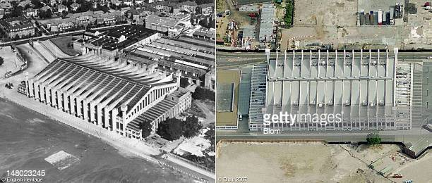 In this composite image a comparison is made in two aerial images of Wembley Arena a key venue for both the London 1948 and 2012 Olympic Games In...