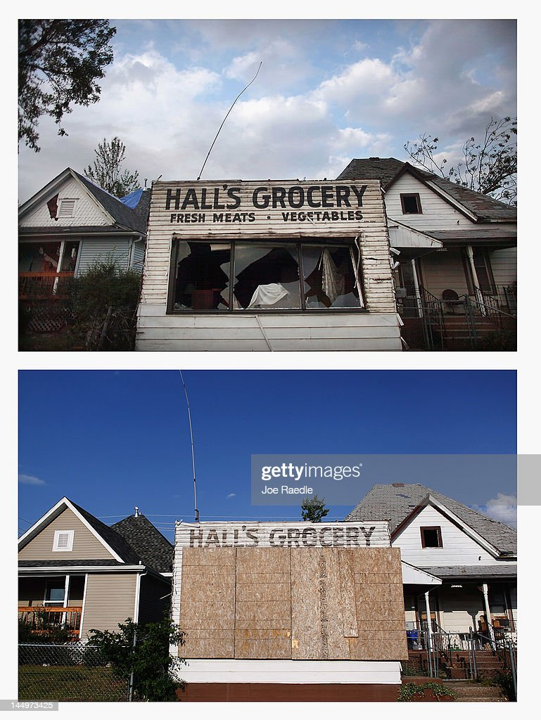 In this composite image (Top Photo) A damaged grocery store is seen after a massive tornado passed through the town on May 22, 2011 in Joplin, Missourii. (Bottom Photo) One year after the building next to the store has been restored but the store is still damaged on May 20, 2012. Tuesday will mark the one-year anniversary of the EF-5 tornado that devastated the town. The tornado left behind a path of destruction along with 161 deaths and hundreds of injuries, but one year later there are signs that the town is beginning to recover