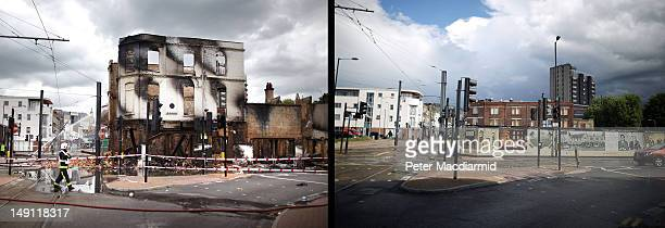 In this composite image A fire officer stands by the burnt remains of Reeves Corner furniture store on August 9 2011 in Croydon England The empty...