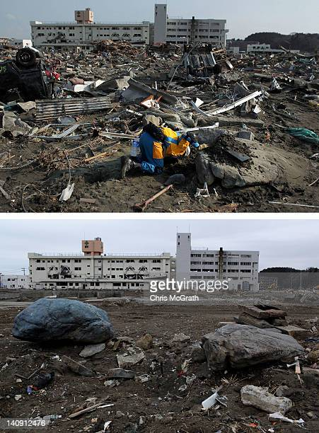 In this composite image a member of the police search and rescue team looks under a rock on March 19 2011 and the same location as seen ahead of the...