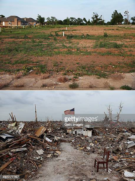 In this composite image A neighborhood is seen one year after the devastation seen in the bottom photo as the town prepares for Tuesdays one year...