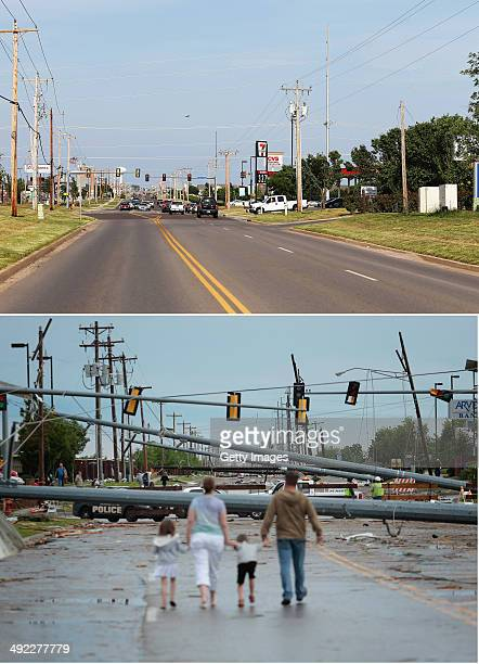 In this composite image A neighborhood street is seen one year after the devastation seen in the bottom photo as the town prepares for Tuesdays one...