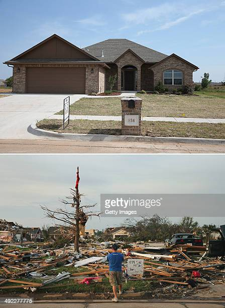 In this composite image a new house is seen at the address on a sign in the picture below showing when it had been flattened as the town prepares for...