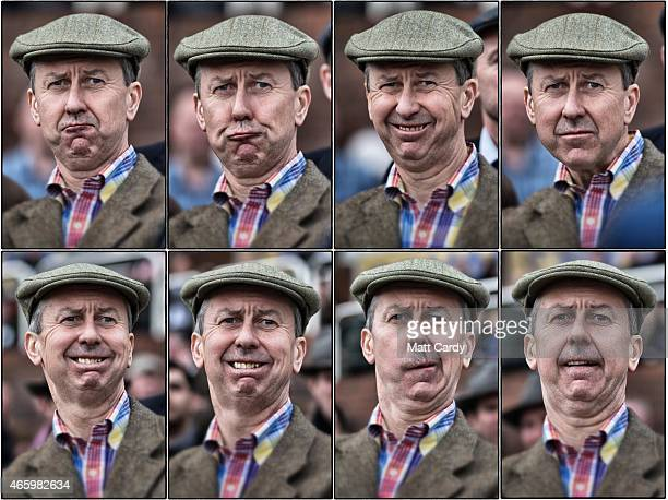 In this composite image, a racegoer reacts as he watches a race on the third day of the Cheltenham Festival on March 12, 2015 in Cheltenham, England....