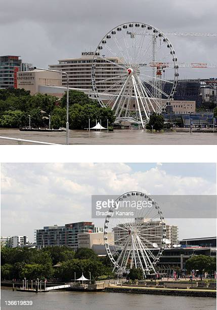 In this composite image a view of the Southbank and the Brisbane river on January 9 2012 compared to a view of Southbank and the Brisbane river with...