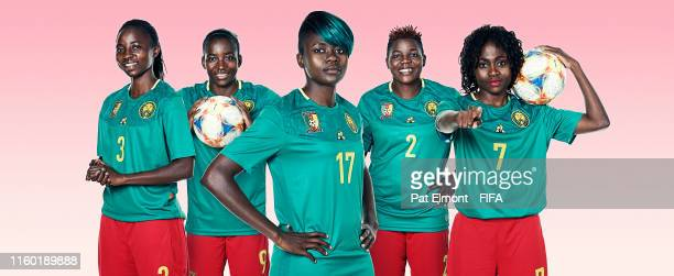 In this composite image, Ajara Nchout,Madeleine Ngono Mani,Gaelle Enganamouit,Christine Manie,Gabrielle Aboudi Onguene of Cameroon poses for a...