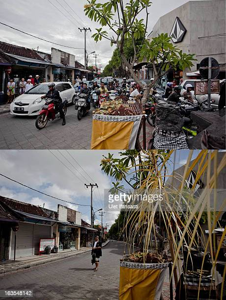 In this composite image an active Legian street at Kuta is seen on March 9 2013 and bottom the same street is seen on Nyepi day on March 12 2013 in...