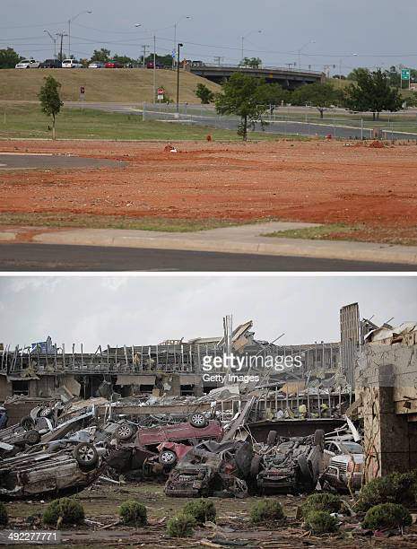 In this composite image an empty field is seen where the Moore Medical Center seen in bottom photo was as the town prepares for Tuesdays one year...