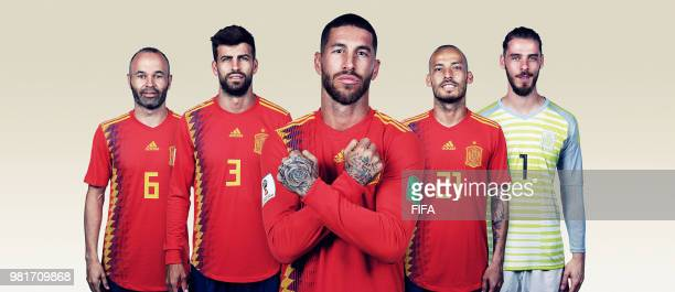 In this composite image Andres Iniesta Gerard PiqueSergio RamosDavid Silva David De Gea of Spain pose for a portrait during the official FIFA World...