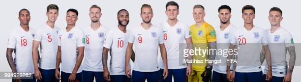 In this composite image Ashley Young John Stones Jesse Lingard Jordan Henderson Raheem Sterling Harry Kane Harry Maguire Jordan Pickford Kyle Walker...