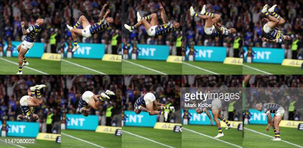 In this composite image Blake Ferguson of the Eels celebrates with a back flip after scoring a try during the round eight NRL match between the...