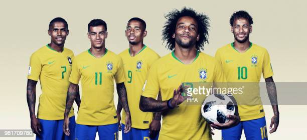 In this composite image Brazil players Douglas Costa Philippe Coutinho Gabriel Jesus Marcelo Neymar pose for a portrait during the official FIFA...