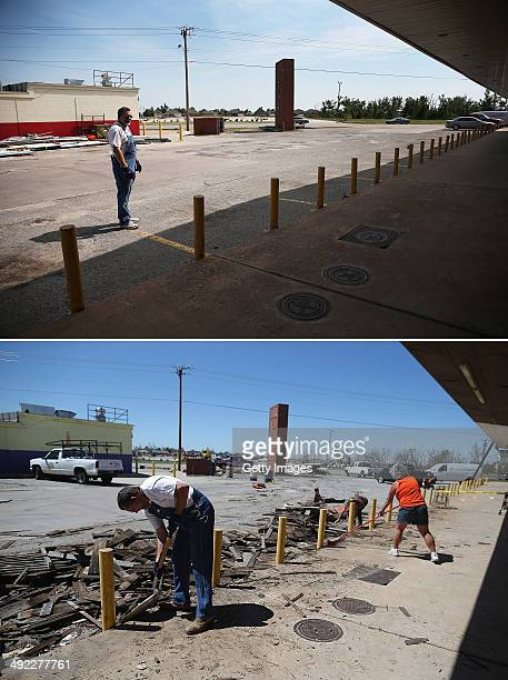 In this composite image Chuck Walker is seen one year after the image below where he was busy cleaning up debris as the town prepares for Tuesdays...