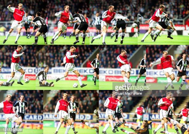 In this composite image, Dennis Bergkamp scores a goal for Arsenal during the Premier League match between Newcastle United and Arsenal on March 2,...