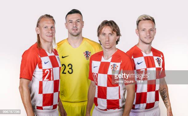 In this composite image Domagoj Vida Danijel SubasicLuka ModricIvan Rakitic of Croatia pose during the official FIFA World Cup 2018 portrait session...