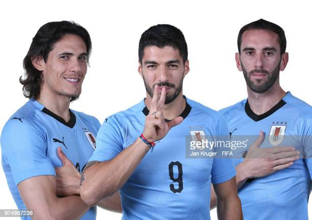 In this composite image Edinson Cavani Luis Suarez and Diego Godin of Uruguay pose for a portrait during the official FIFA World Cup 2018 portrait...