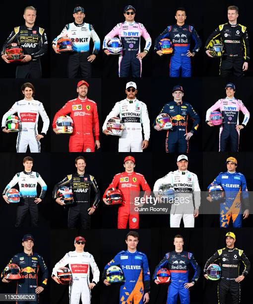 In this composite image, F1 Drivers for the 2019 Season pose for a photo during previews ahead of the F1 Grand Prix of Australia at Melbourne Grand...