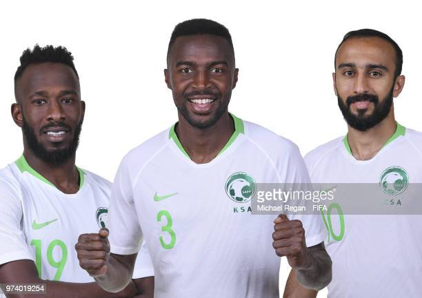 In this composite image Fahad Almuwallad Osama Hawsawi and Mohammed Al Sahlawi of Saudia Arabia pose during the official FIFA World Cup 2018 portrait...