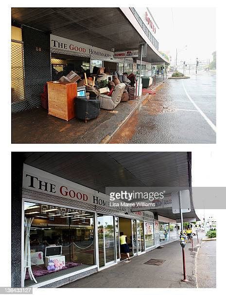 In this composite image flood damage is seen in the Toowoomba central business district on January 10 2011 and the same location as seen on January 5...