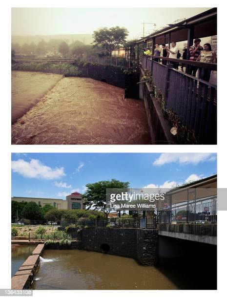 In this composite image flooding is seen in the Toowoomba central business district on January 10 2011 and the same location as seen on January 5...