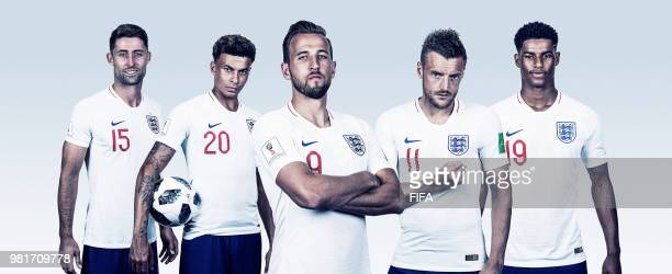In this composite image Gary Cahill Dele Alli Harry Kane Jamie Vardy Marcus Rashford of England pose for a portrait during the official FIFA World...