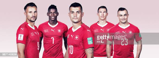 In this composite image Haris Seferovic Breel Embolo Granit Xhaka Stephan Lichtsteiner and Xherdan Shaqiri pose for a portrait during the official...