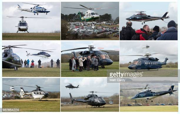 In this composite image helicopters arrive carrying the rich and famous racegoers at the helipad near Cheltenham Racecourse for the final day of the...