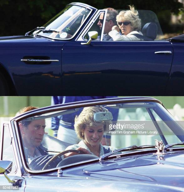 In this composite image HRH Prince Charles is seen driving both Camilla ParkerBowles and Princess Diana in the same Aston Martin car Clarence House...
