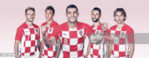 In this composite image Ivan RakiticMario MandzukicMateo Kovacic Marcelo BrozovicLuka Modric of Croatia poses during the official FIFA World Cup 2018...