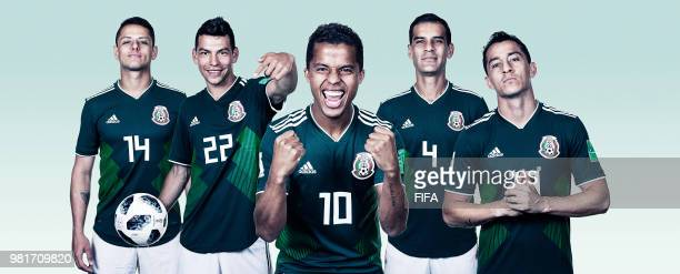 In this composite image Javier HernandezHirving LozanoGiovani dos SantosRafael Marquez Andres Guardado of Mexico pose for a portrait during the...