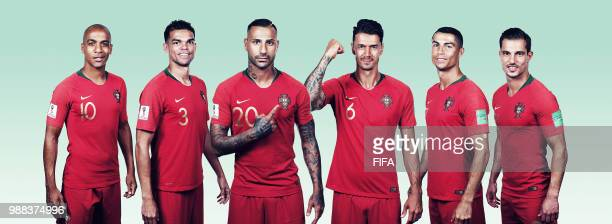 In this composite image Joao MariaPepeRicardo QuaresmaJose FonteCristiano RonaldoCedric of Portugal pose for a portrait during the official FIFA...