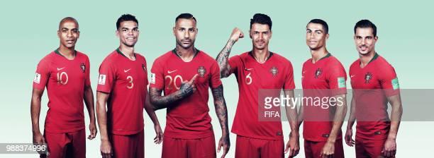 In this composite image, Joao Maria,Pepe,Ricardo Quaresma,Jose Fonte,Cristiano Ronaldo,Cedric of Portugal pose for a portrait during the official...