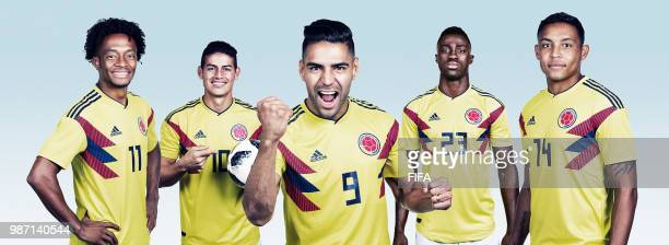 In this composite image Juan Cuadrado James Rodriguez Radamel Falcao Davinson Sanchez and Luis Muriel of Colombia pose for a portrait during the...