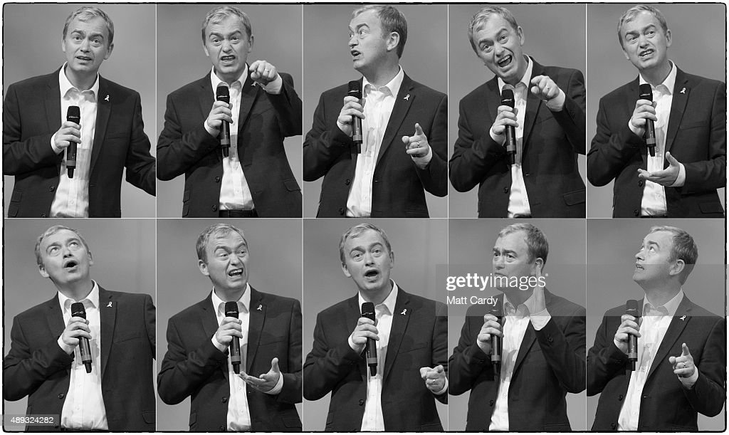 In this composite image leader of the Liberal Democrats Tim Farron speaks on the second day of the Liberal Democrats annual conference on September 20, 2015 in Bournemouth, England. The Liberal Democrats are currently holding their annual conference using the hashtag #LibDemfightback in Bournemouth. The conference is the first since the party lost all but eight of its MPs in MayÕs UK general election, however after gaining 20,000 new members since May the party is expecting a record attendance at the event being held at the Bournemouth International Centre.
