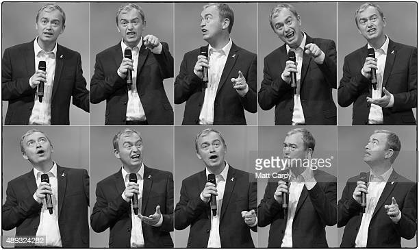 In this composite image leader of the Liberal Democrats Tim Farron speaks on the second day of the Liberal Democrats annual conference on September...