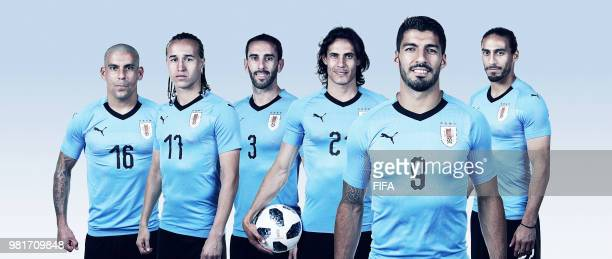 In this composite image Maximiliano PereiraDiego LaxaltDiego GodinEdinson Cavani Luis SuarezMartin Caceres of Uruguay poses for a portrait during the...