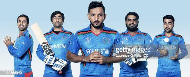 In this composite image Najibullah Zadran Asghar Afghan Gulbadin Naib Mohammad Shahzad Rashid Khan of Afghanistan pose for a portrait prior to the...