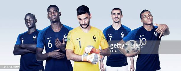 In this composite image, N'Golo Kante, Paul Pogba,Hugo Lloris,Antoine Griezmann,Kylian Mbappe of France pose for a portrait during the official FIFA...