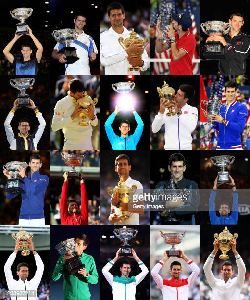 In this composite image , Novak Djokovic holds the trophy for each of his twenty men's singles grand slam titles from the first, the Australian Open...