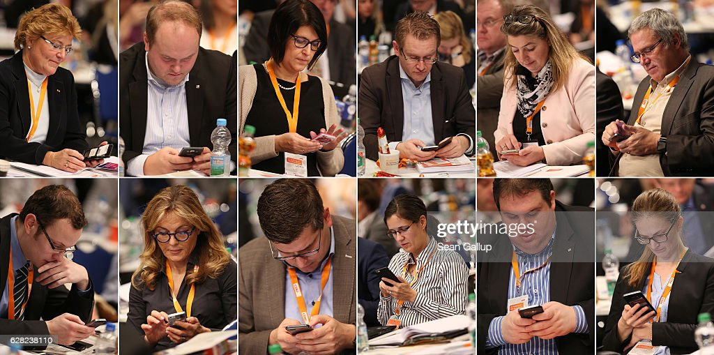 In this composite image of 12 separate photographs delegates of the German Christian Democrats (CDU) read or type on their smartphones during debates at the 29th federal congress of the CDU on December 7, 2016 in Essen, Germany. Approximately 1,000 CDU delegates are meeting to debate and vote on the party's course for next year following the recent announcement by Chncellor and party Chairwoman Angela Merkel that she will run for a fourth term as chancellor in federal elections scheduled for next September.