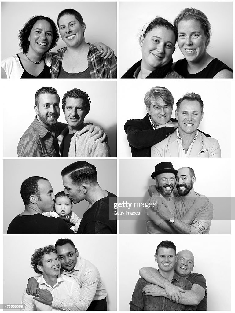 In this composite image of Australian same-sex couples, (First Row (L); Image number 475564248) Sydney couple, Liasi Tarua, 35, and Rebecca Sim, 34, (Top First (R); Image number 475564096) Sydney couple, Nikki Rickard, 30, and Phillipa Mcnamara, 29, (Second Row (L); 475564046) Brisbane couple Michael James, 28, and Anthony Gillespie, 32, (Second Row (R); 475563928) Sydney couple, Mitch Edwards, aged 52, and Mark McKie, aged 53, (Third Row (L); 475563704) Sydney couple, Faycal Dow, aged 38, daughter Myla Dow, aged 2 months, and Hunter Dow, aged 44, (Third Row (R); 475562012) Melbourne couple, Steven Curry, 35, and Anthony Rebelo, 37, (Fourth Row (L); 475561926) Sydney couple, Andrew Reid, 37, and Warren Peppin, 48, (Fourth Row (R); 475561028) Western Australian couple, Jason Griffiths, age 31 and Mark McCarthy age 43, pose during a portrait shoot, in Australia. The marriage equality debate in Australia has reignited on the back of Ireland's referendum legalising same-sex marriage last week. Recent polls suggest public support for gay marriage in Australia is at an all-time high of 72%.