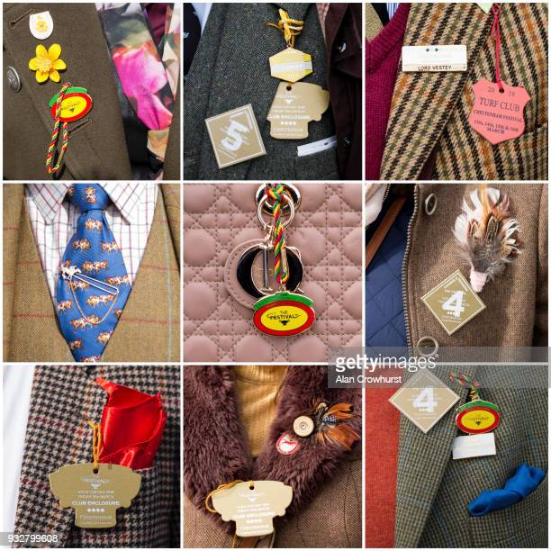In this composite image of lapel badges worn by racegoers at Cheltenham racecourse on Gold Cup Day on March 16, 2018 in Cheltenham, England.