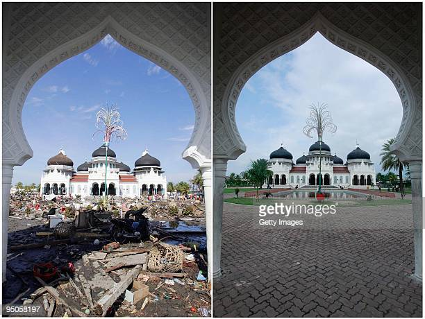 In this composite image of the Grand Mosque, a before and after contrast is made shortly before the fifth anniversary of the 2004 Boxing Day...
