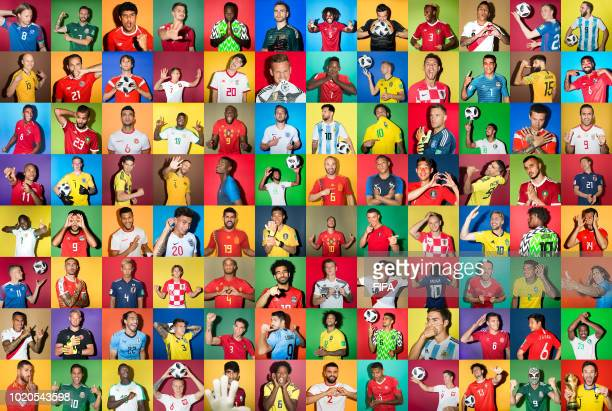 In this composite image players from all 32 competing teams pose from the 2018 FIFA World Cup Russia portrait sessions in Russia